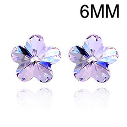 QZ Swarovski Element Crystal Cherry Blossom Stud Earrings Platinum Plated Fashion Jewelry for Women Girls Multi-color Choose Free Shipping