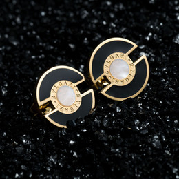Wholesale New Arrival L Stainless Steel style Stud Earrings K Gold Plated CZ Stone Shell Earrings For Women Gift
