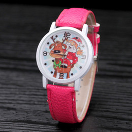 Fashion Animal Children's PU Leather Watchband Watches Lovely Christmas Gift Adult Casual Wristwatches Pink 100pcs lot