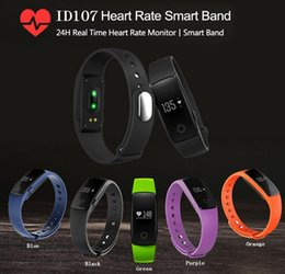 Wholesale Fitbit Smart Watch ID107 Bluetooth Smart Bracelet with Heart Rate Monitor Fitness Tracker Sports Wrist Watches for Android IOS Phone
