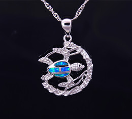 Wholesale & Retail Fashion Jewelry Fine Blue Fire Opal Sea Turtle Stone Sliver Pendants For Women PJ17082716