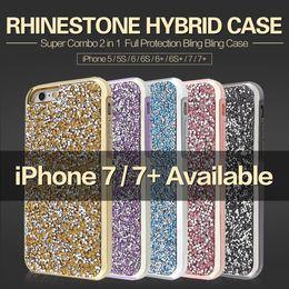 Protection téléphone cellulaire en Ligne-Hybride 2 en 1 cas de téléphone de rhinestone de diamant bling cas de téléphone portable de couverture arrière Pour l'iphone 7 5 6 6s plus la protection