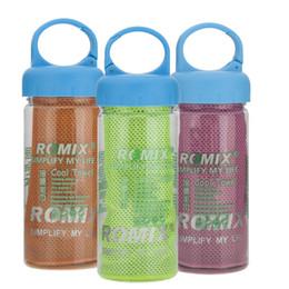 Compra Online Bufanda para el frío-Toalla fría en botella de beber fitness yoga verano toallas de refrigeración de doble capa de deportes al aire libre helada scaft bufandas almohadilla toallita de secado rápido