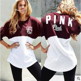 Wholesale Casual Women Sweatshirt Polyester PINK Letter Print O Neck Patchwork Lady Hoodies Pullovers Chrisrmas Gifts