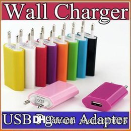 5V 1A Color EU US Plug USB Wall Charger AC Power Adapter for iphone 6 6S 7 plus ipad mini S5 S4 ipad2 USB cell phone tablet pc C-SC