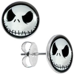 Wholesale Studs Earring Surgical Steel Nightmare Before Christmas Jack Skellington Ear Stud Fake Plugs Size 10mm*1.2mm 50pcs lot ZCST-052