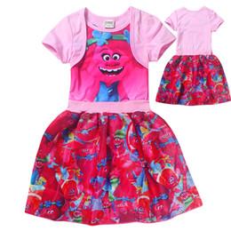 Trolls vêtements Cartoon Trolls bébé filles robes court manches enfants pavot jupes meilleur prix avec une qualité supérieure à partir de belles robes à manches courtes fabricateur