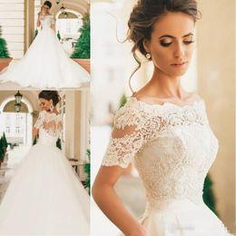 2019 Robe De Mariage Short Sleeves Wedding Dresses Lace Appliqued Pearls Sheer Bateau Neck Vintage Lace Bridal Gowns Vestido De Novia