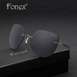 Compra Online Gafas de diseño fresco-FONEX 2017 Diseñador de marca Ojo de gato Cool Mujer Cuadrado Gafas De Sol Sin Arma Hombres Oversized De Titanio Polarizado Gafas De Sol Gris 8203