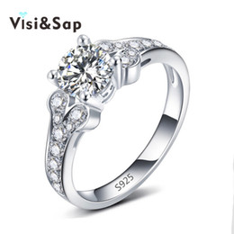 Visisap White Gold color classic Rings For Women wedding engagement Ring cubic zirconia luxury bague for girls Wholesale VSR096