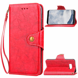 Wholesale High Quality Retro Wax Oil Flip Leather Case for Samsung S8 S8 Plus PU Leather Phone Cover with Card Holder