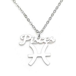 New Pisces Pendant Necklace 304 Stainless Steel 12 Constellations Necklaces Link Chain Women Charm Jewelry Wholesale Drop Shipping