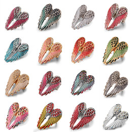 Wholesale 2017 new color crystal animl Angel wings ring women men big Punk biker bling jewelry antique gold silver plated RC