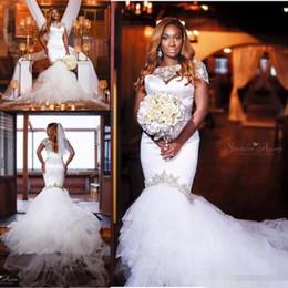 Wholesale Cheap Plus Size Winter Jackets - Plus Size Mermaid Wedding Dresses With Beaded Jacket 2017 Sweetheart African Vestidos De Novia Garden Long Wedding Dress Bridal Gowns Cheap
