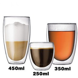 Wholesale double wall glass cup crystal glassware heat resistant creative glass mug ml four specification