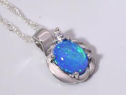 Wholesale & Retail Fashion Jewelry Fine Blue Fire Opal Stone Silver Plated Pendants For Women PJ16011703