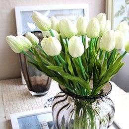 100 Heads Single Stem Artificial Tulips Real Touch PU Tulips Flowers Bridal Bouquet Real Touch Flowers