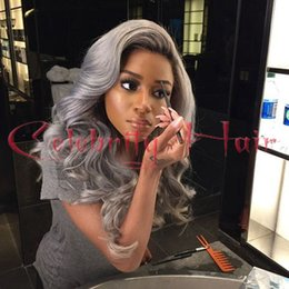 Wholesale Single color grey sexy super curly synthetic hair glueless lace wig for african americans baby hair heat resistant