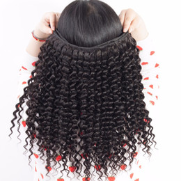 Acheter en ligne 24 paquets de cheveux bouclés-Hot Sale Brazilian Deep Curly Hair Extensions Bundles 3 4 Pcs lot Indian Peruvian Malaysian Virgin Remy Hair Cheap Human Curly Hair Weaves