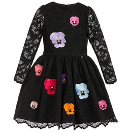 Kids Girls Lace Dress 2017 Spring Style Baby Girl Floral Embroidery Dresses Princess Full Sleeve Party Dress Children Clothing S117