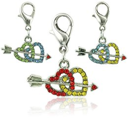 JINGLANG Classic Lobster Clasp Charms Dangle Mix Color Arrow Through Double Heart DIY Charms For Jewelry Making Accessories