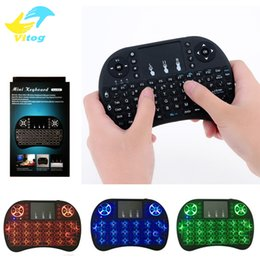 Wholesale Mini Wireless Keyboard colour backlite GHz English Russian Air Mouse Remote Control Touchpad blacklight For Android TV Box Tablet Pc
