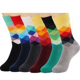 6 Packs Men Color Dress Socks Funny Colorful Rainbow Argyle High Fun Sock,Multicolors,One Size