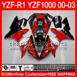 8Gift 23Color Body For YAMAHA TOP red black YZF1000 YZFR1 02 03 00 01 YZF-R1000 62HM2 YZF 1000 R 1 YZF-R1 YZF R1 2002 2003 2000 2001 Fairing