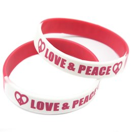 Wholesale 100PCS Lot Printed Bracelet Love and Peace Silicone Wristband A Great Way To Show Your Support