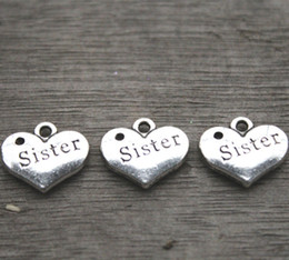 20pcs-Sister Charms,Antique silver 2 sided Vintage Letters Sister Sign Love Hearts Charm Pendants,hearts,heart pendants 13x16mm