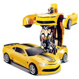 Wholesale Racing Car Models Deformation Robot Transformation Remote Control RC Car Toys for Children Kids Gift TT661