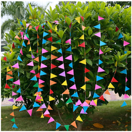 Wholesale m Small Paper Flags For Wedding Decorative Banners Colorful Bunting Baby Background Pictures Event And Party Pennant KSM008