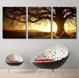 Modern printing tree wall art 3 panel wall painting pictures sunset canvas art household to decorate the living room