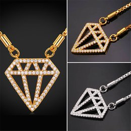 U7 Luxury Twinkling Diamond Box Chain Pendant Necklace Gold Platinum Plated Jewelry Necklace Perfect Gifts Women Cubic Zirconia Accessories