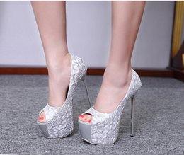 New 16 cm high with metal sequins lace fine with waterproof fish mouth women's shoes