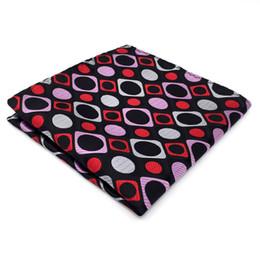 QH3 Pattern Pink Red Black Handkerchiefs Neckties Silk Hanky Pocket Square Silk Big Size Wedding