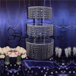 "3Tier Wedding Round clear Cake Stand with hanging Acylic Crystal Beaded Wedding Table Centerpieces - D 16""-12""-8"""