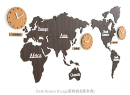 Map style Wooden decorative wall clock craft clock gift creative clock home decorative design