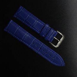 2017 bracelet en cuir véritable Grossiste-Crocodile Pattern Bracelet en cuir de vache véritable Bracelet Watch Band Bleu foncé Watchband hommes femmes 14mm 16mm 18mm 20mm 22mm promotion bracelet en cuir véritable autorisation