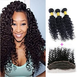 8A 13x4 Brazilian Deep Curly Lace Frontal Closure With Bundles,Deep Curly With Lace Frontal,Cheap Deep Wave Human Hair With Lace Frontal