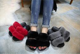 Inicio peinado del cabello en Línea-2016 Fashion EuropeanAmerican estilo conejo pelo zapatillas mujeres de tacón bajo plana talón sandalias zapatillas de señora casual en casa pantuflas de interior