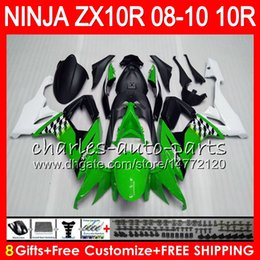 8Gifts 23Colors Body For KAWASAKI NINJA ZX 10 R ZX10R 08 09 10 47HM7 green white ZX 10R ZX1000 C ZX1000C ZX-10R 2008 2009 2010 Fairing kit