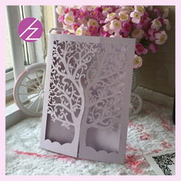 Wholesale wedding party decoration paper craft laser cut love tree wedding invitation card QJ