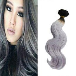 cheap 8A Malaysian Brazilian Peruvian Virgin Hair Body Wave Silver Ombre Hair Extension ombre grey human hair bundles 4 bundle deal freeship