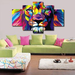 home decor wall art ink painting 5 Pieces Modern Painting Lion in majesty Picture on Canvas Prints home decor wall art