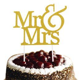 Gold Silver Mr & Mrs Cake Topper Love Wedding Cake Flags Glittler Wedding Engagement Party Baking Decor Wedding Cake Flags