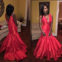 Wholesale Tier Layers Satin Prom Dresses Mermaid K17 American Africans New Party Gowns V Neck Backless Floor Length Evening Dresses