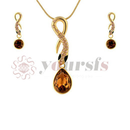 Yoursfs Gold Color Noble Elegance Austrian Crystal Snake Pendant Necklace Earrings Jewelry Sets for women