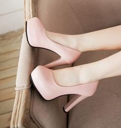 Vente en gros Nouvelle arrivée Hot Sale Specials Super Mode Sweet Girl Sexy Plein cuir Occupation Noble Chevalier talons chaussures EU34-43 plain shoes heels deals à partir de chaussures simples talons fournisseurs