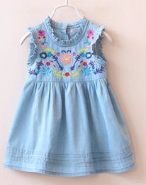 Wholesale Lace Denim Toddler Dress - Baby Girl Denim Sleeveless Embroidery Floral Jeans Dress Children Kids Blue Lace Ruffled Dress Toddler Infant Pleated Denim Skirts Dress